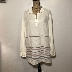 Tahari 100% linen, oversized blouse, size large